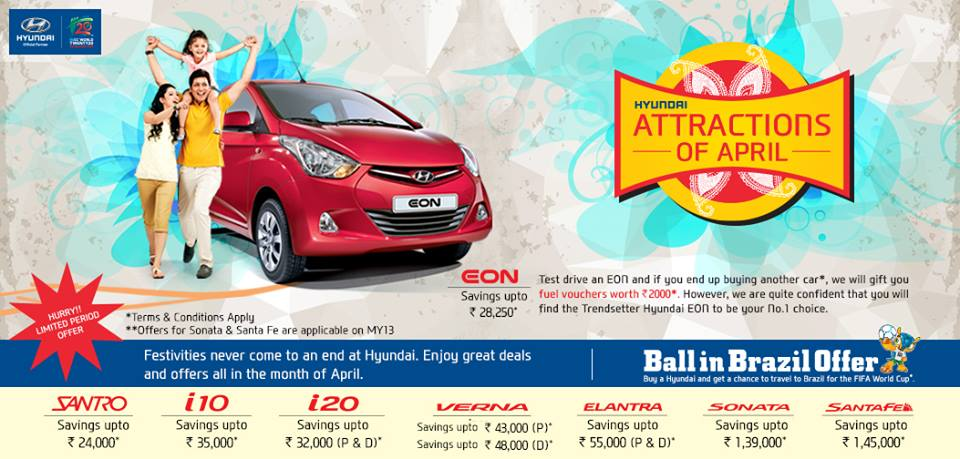 Discounts on Hyundai Cars in April, 2014