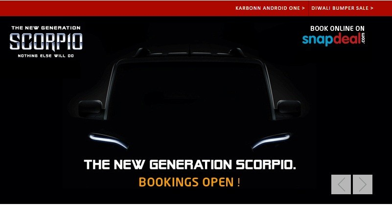 New Mahindra Scorpio pre-bookings on Snapdeal