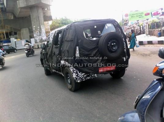 New Mahindra U301 Bolero rear end with spare wheel mounted on it