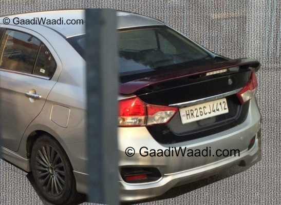 Sportier Maruti Ciaz RS rear spoiler