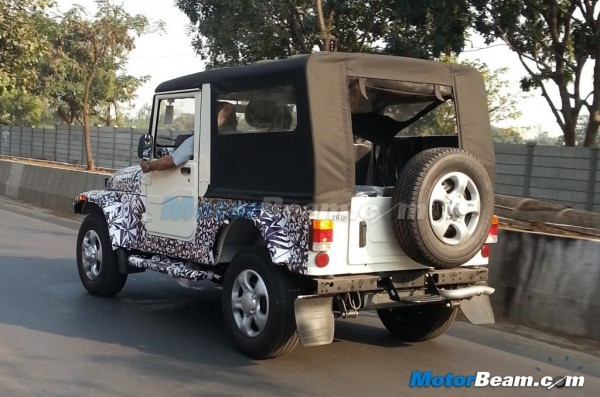 Mahindra Thar facelift spied rear profile