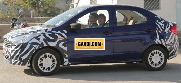 Ford Figo sedan spied in India side