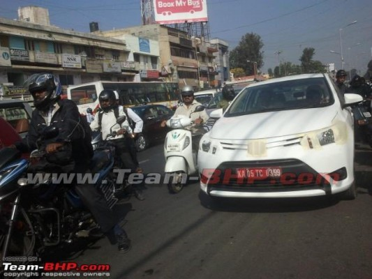 Toyota Vios sedan spied in India