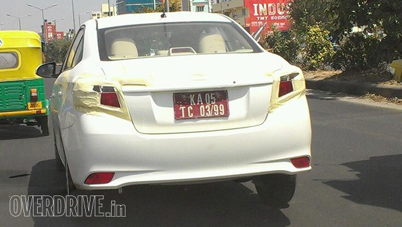Toyota Vios spied in Bangalore rear