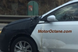 Volkswagen compact sedan spied alloy wheels