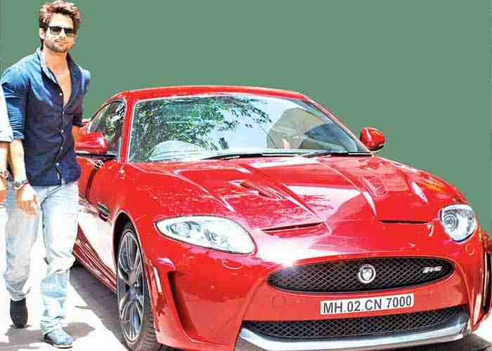 Shahid Kapoor with his Jaguar car