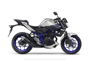Yamaha MT 03 in silver and blue