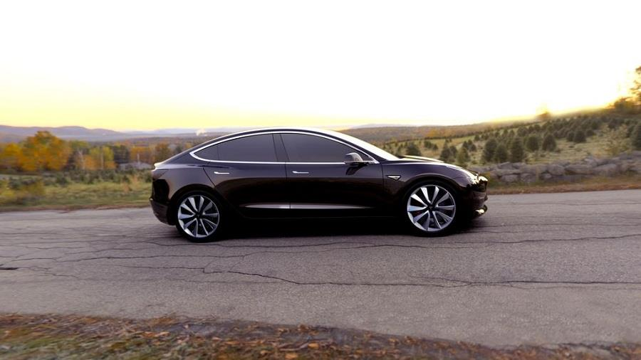 Tesla Model 3 India side view
