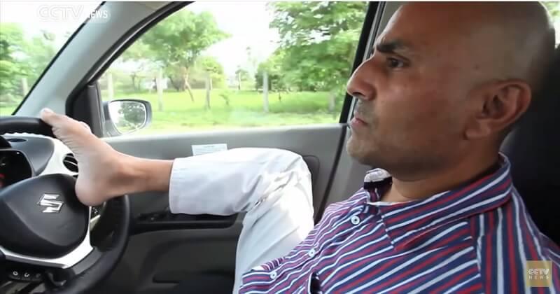 Vikram Agnihotri Armless Indian driver