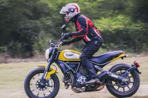 Sonia rides Ducati Scambler