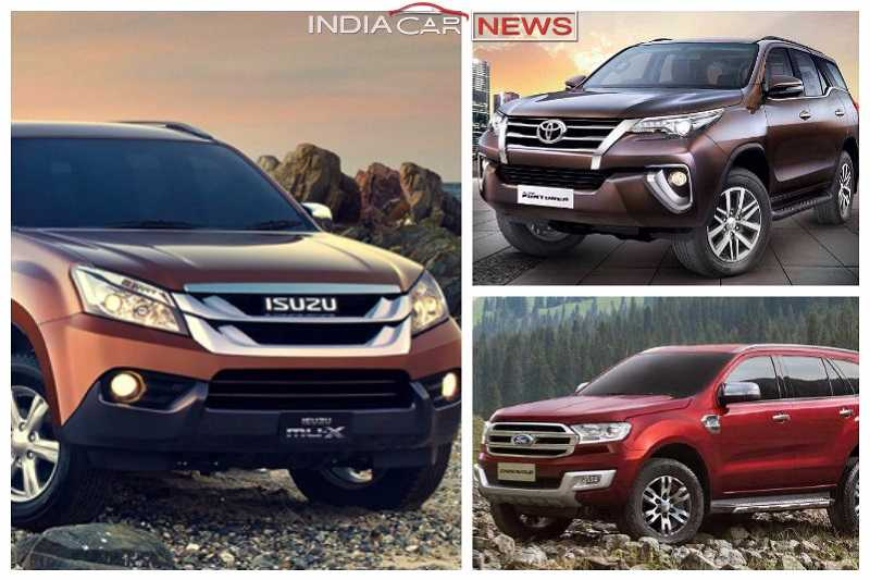 Isuzu MUX Vs Toyota Fortuner Vs Ford Endeavour