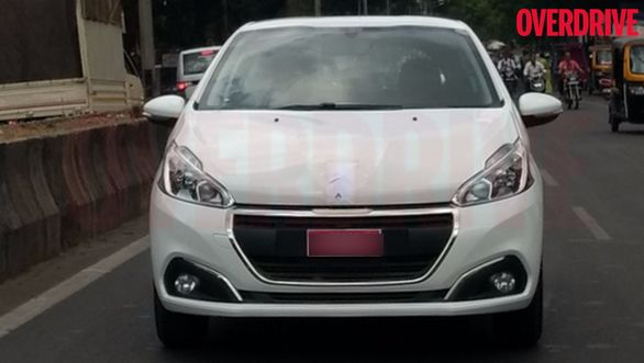 Peugeot 208 India spied front