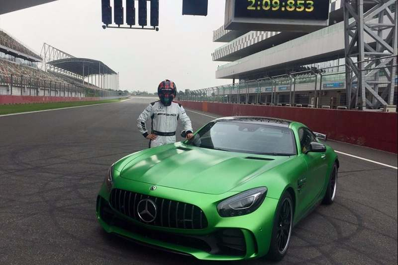 Christian Hohenadel with Mercedes AMG GT R