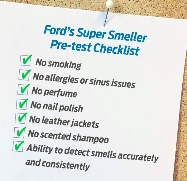 Ford Assembles Team of Super Smellers Checklist