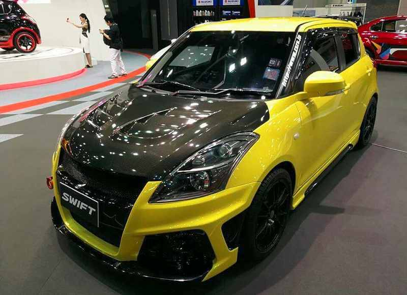 Modified Maruti Swift at Bangkok International Auto Salon in yellow & black