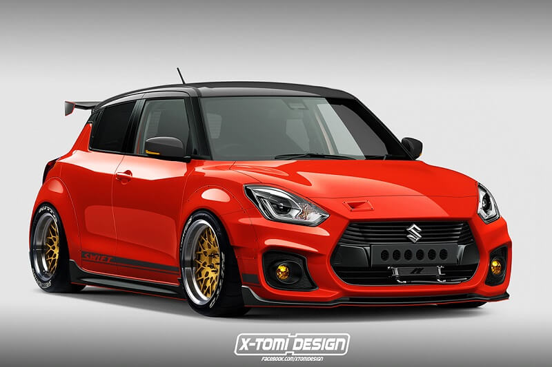 this modified suzuki swift sport looks red hot details inside. Black Bedroom Furniture Sets. Home Design Ideas