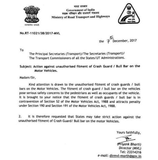 Bullbars Banned in India