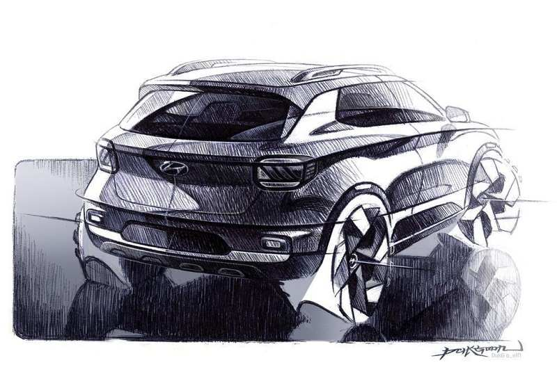 Hyundai Venue Design Sketch rear