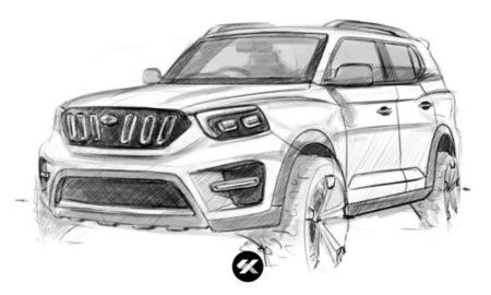 2020 Mahindra Scorpio Sketch (1)