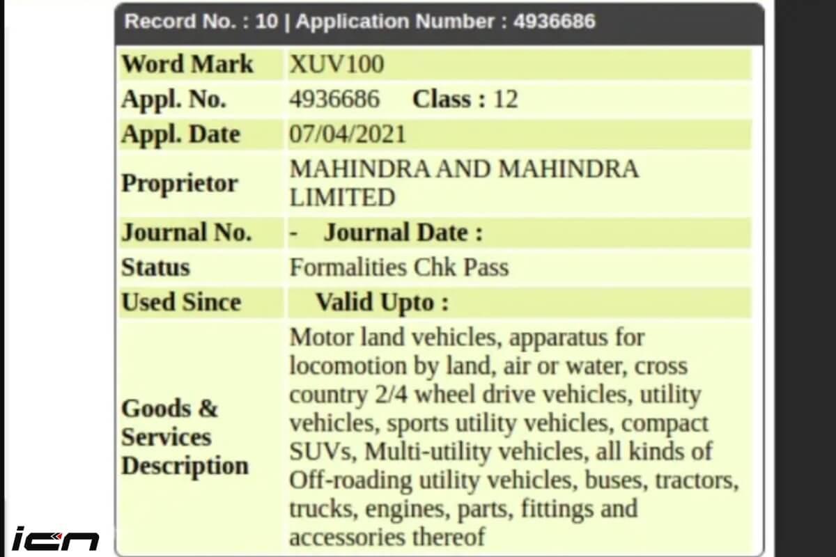 Mahindra XUV100 Trademarked
